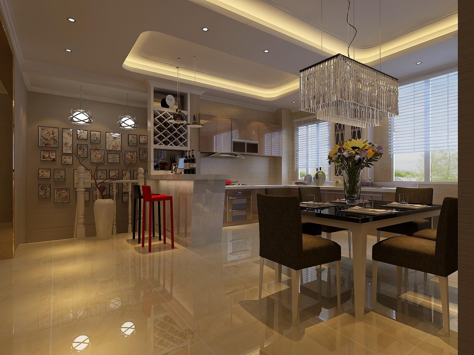 2020现代简约客厅装修设计 2020现代简约吧台效果图