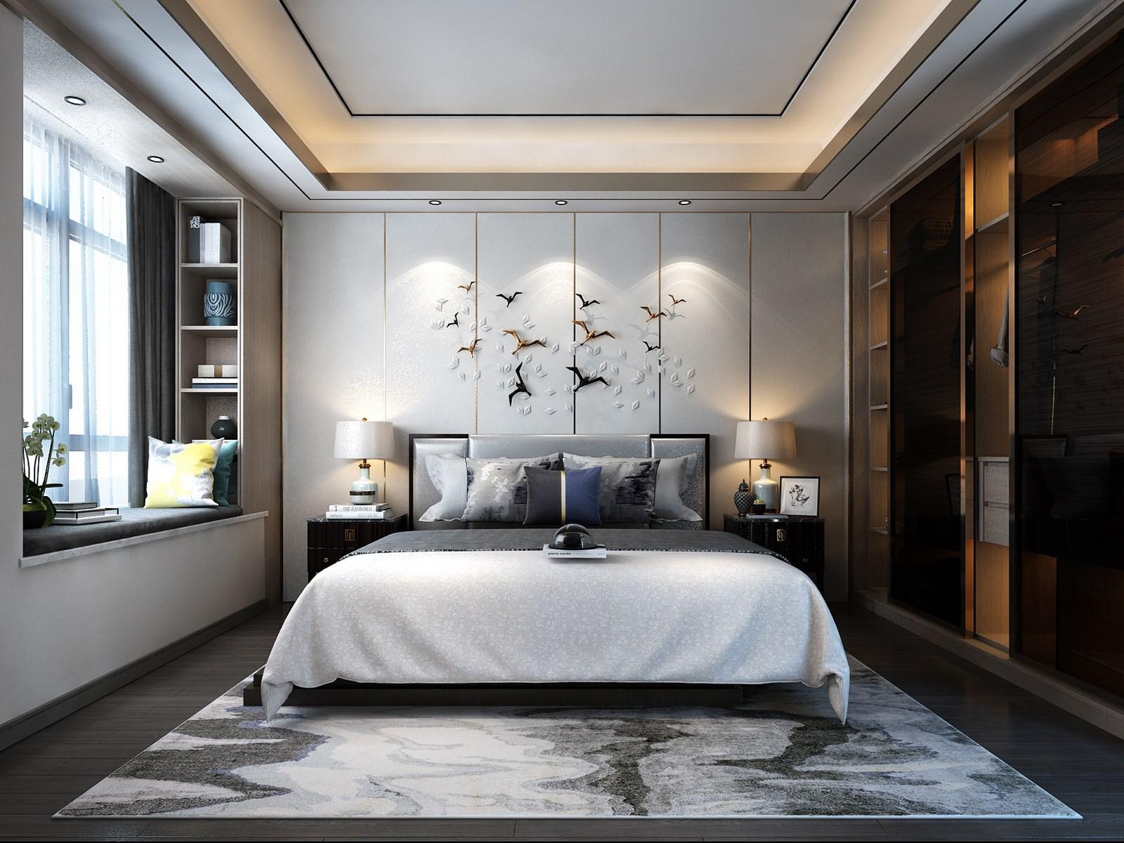 2020新中式卧室装修设计图片 2020新中式窗台装修设计图片