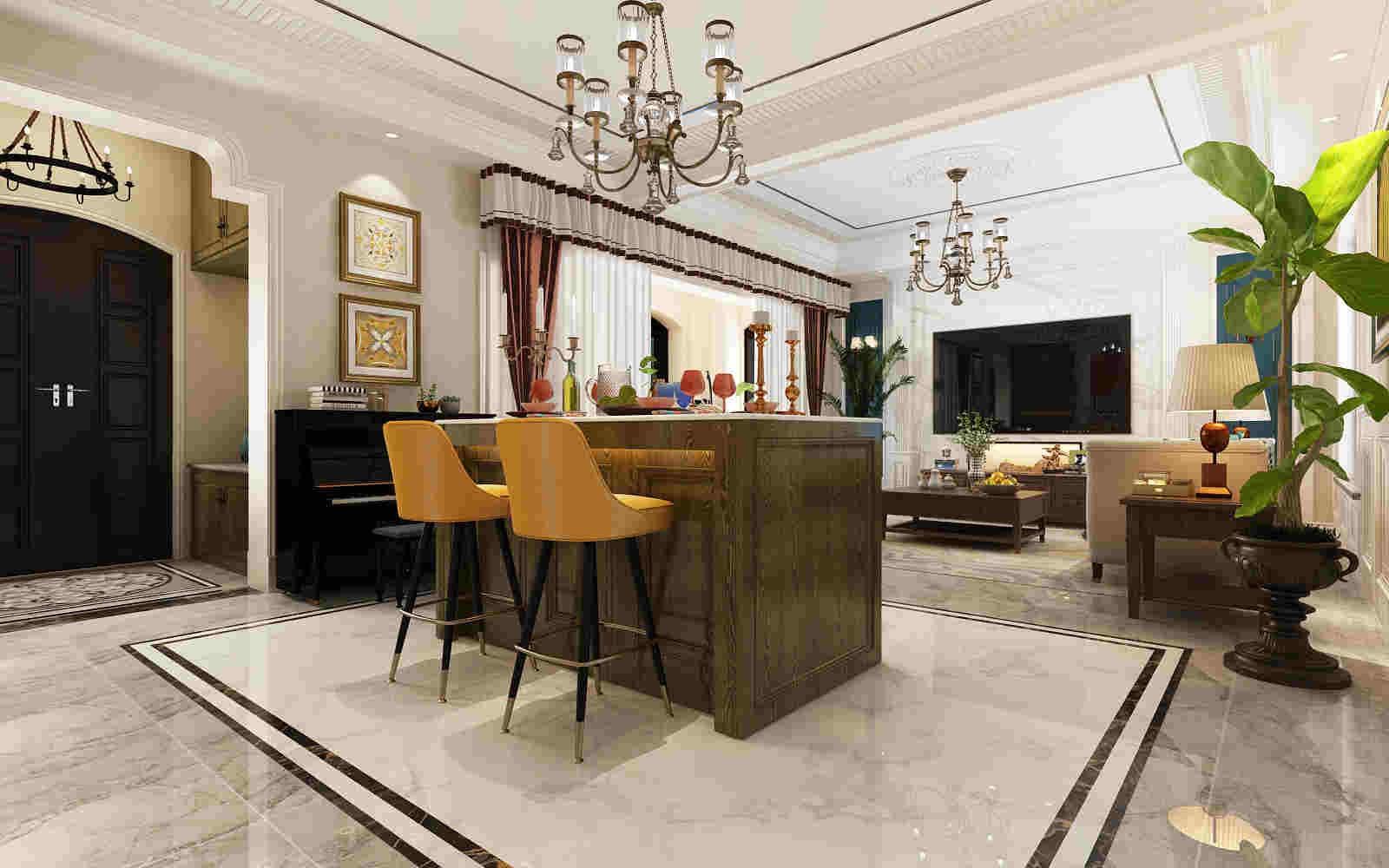 2020美式客厅装修设计 2020美式吧台效果图