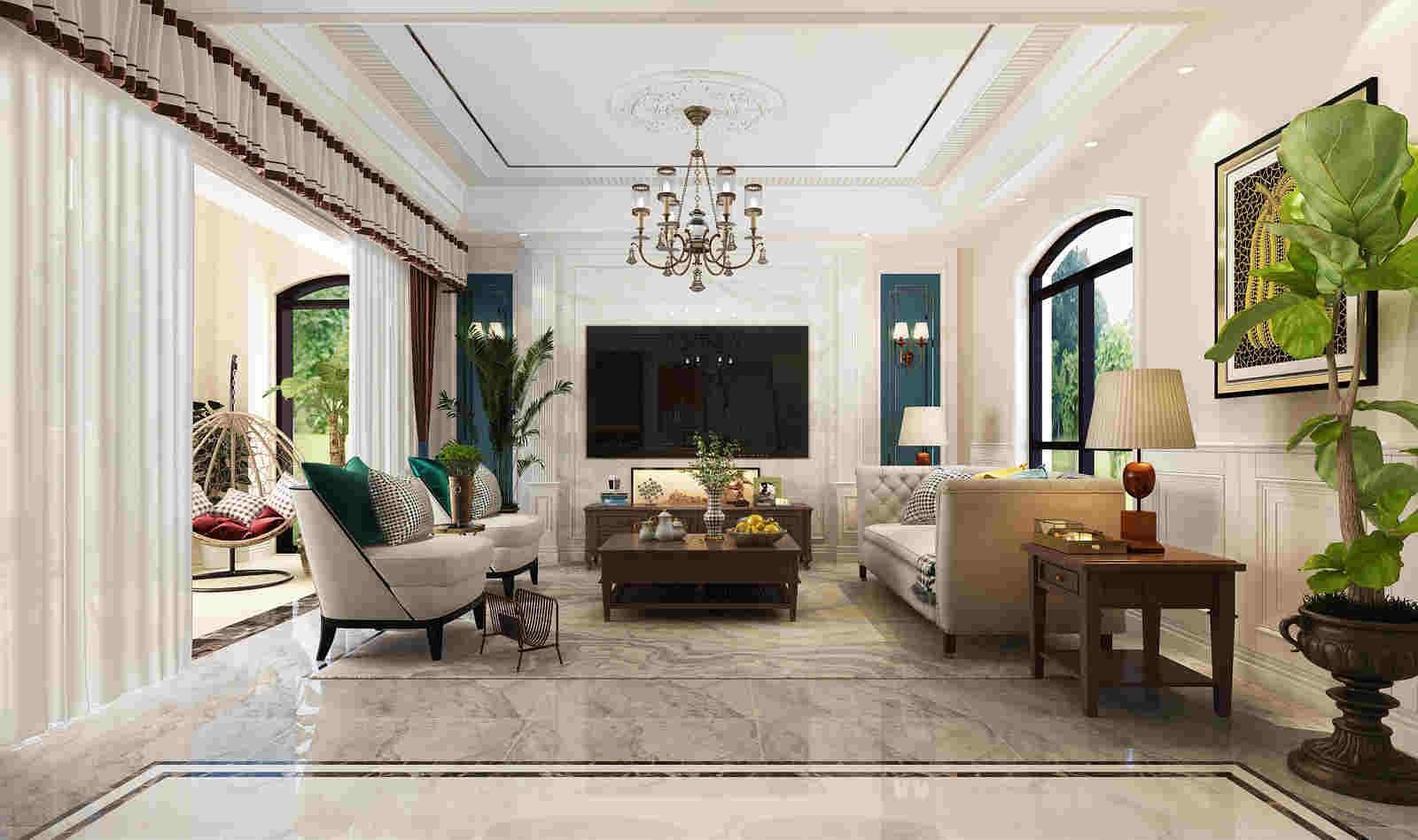 2020美式客廳裝修設計 2020美式電視柜裝修效果圖片