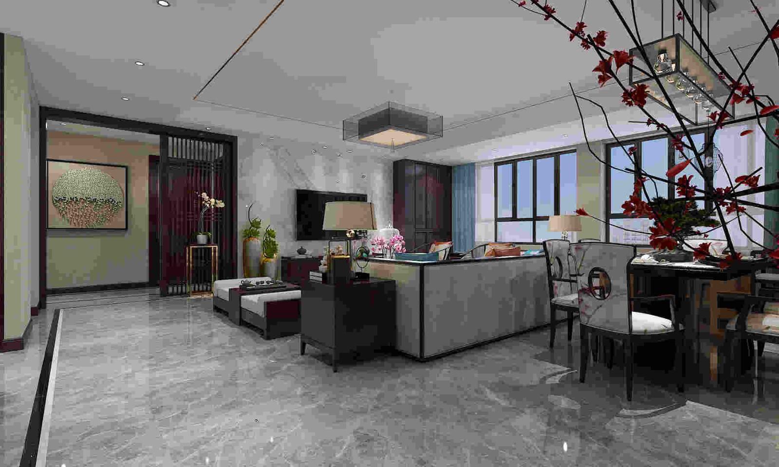 2020新中式客厅装修设计 2020新中式窗台设计图片