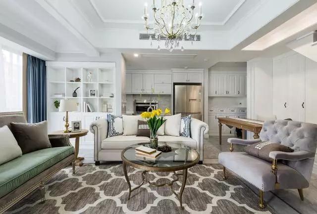 2021美式客厅装修设计 2021美式博古架装修图片