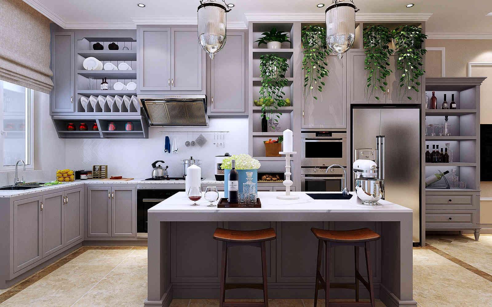 2020美式廚房裝修圖 2020美式廚房島臺裝飾設計
