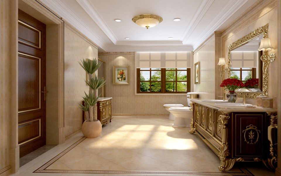 2020歐式浴室設計圖片 2020歐式洗漱臺裝修設計