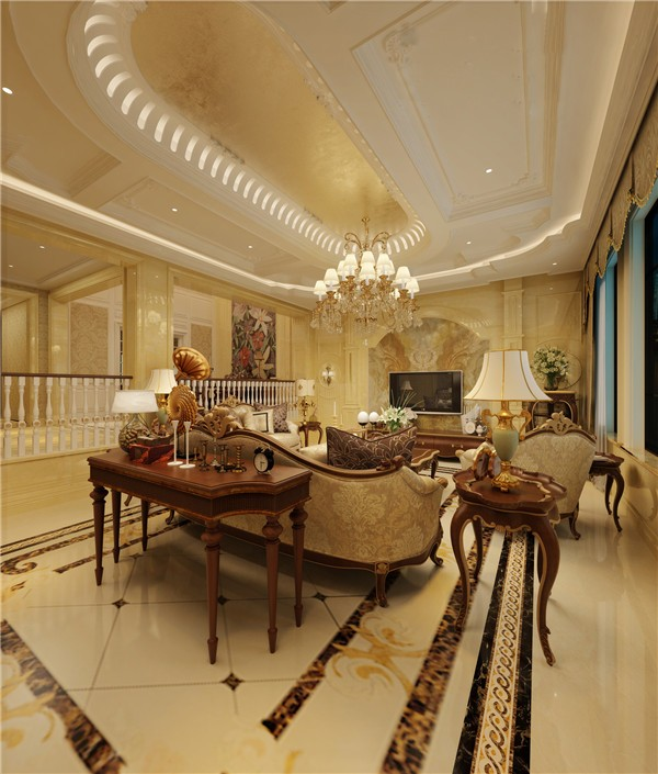 中航翡翠湾200平米复式楼欧式风格
