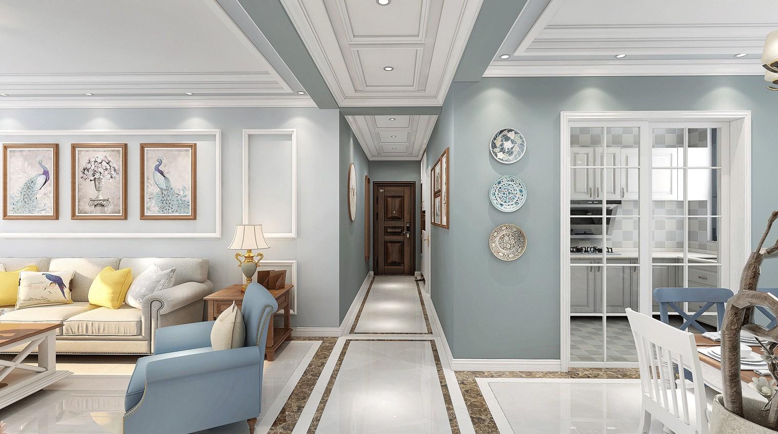 2020美式客廳裝修設計 2020美式過道圖片