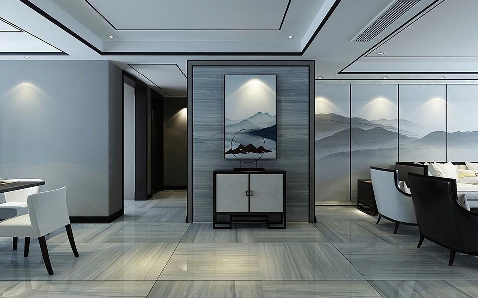 2020现代中式客厅装修设计 2020现代中式照片墙装修效果图大全