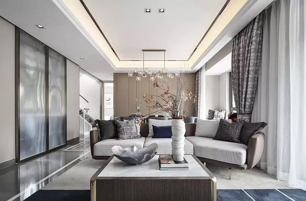 太原市绿地山顶庄园300平新中式轻奢装饰效果图