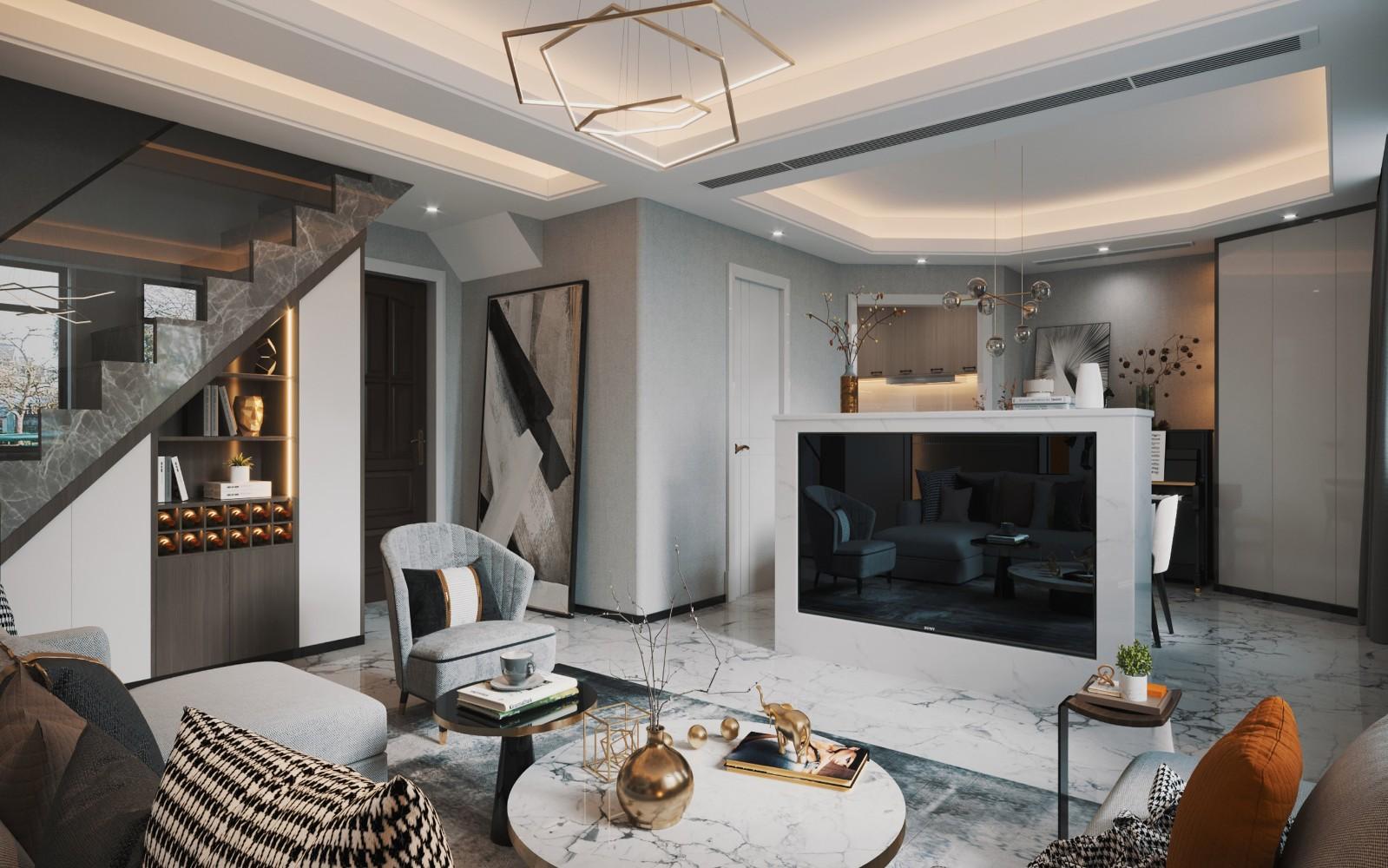 2020現代簡約客廳裝修設計 2020現代簡約電視柜裝修效果圖片