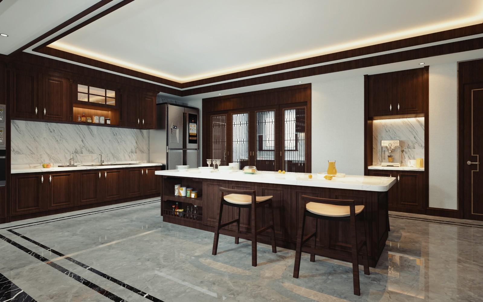 2020新中式厨房装修图 2020新中式厨房岛台装饰设计