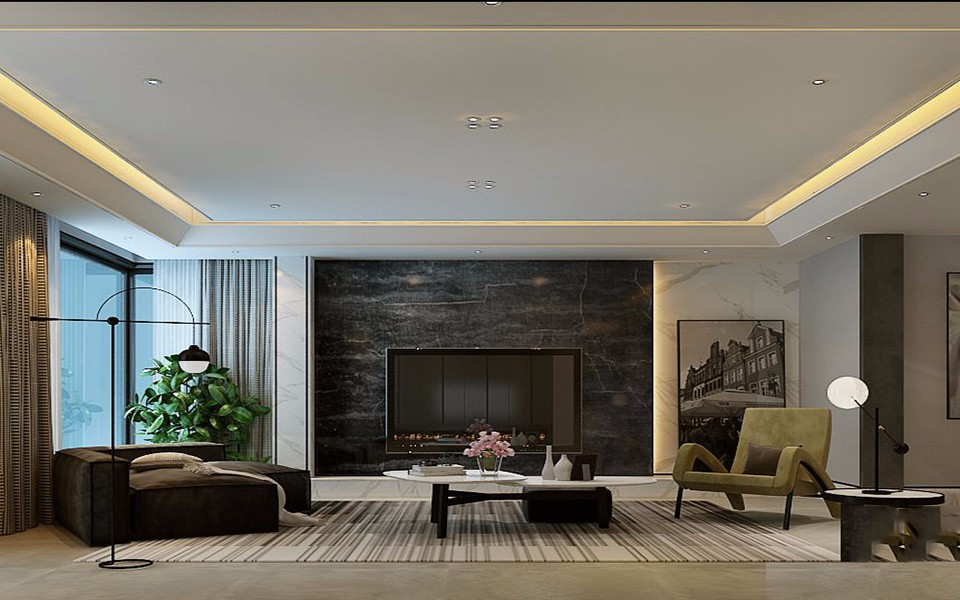 2020简约客厅装修设计 2020简约电视背景墙装修设计图片