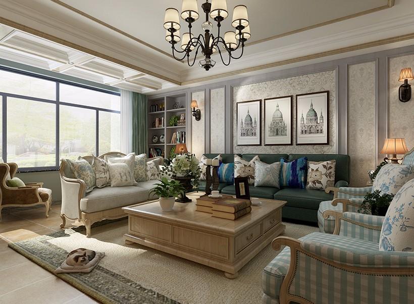2020美式客厅装修设计 2020美式吊顶设计图片