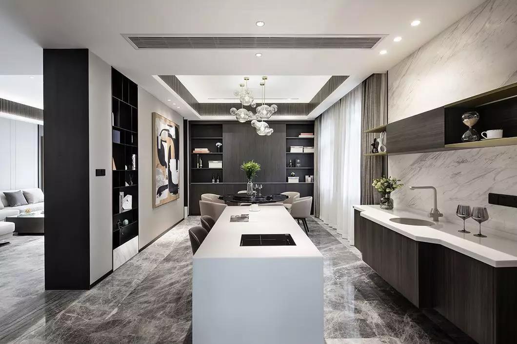 2020韩式厨房装修图 2020韩式吧台装修设计图片