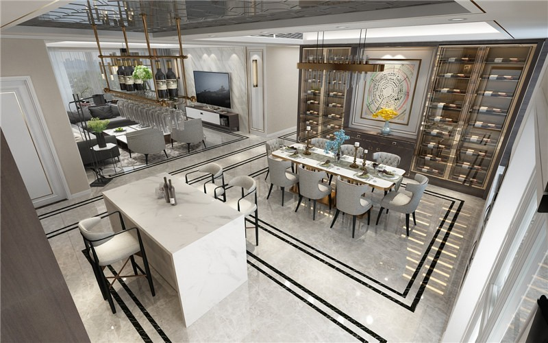 2020现代餐厅效果图 2020现代吧台装修效果图大全