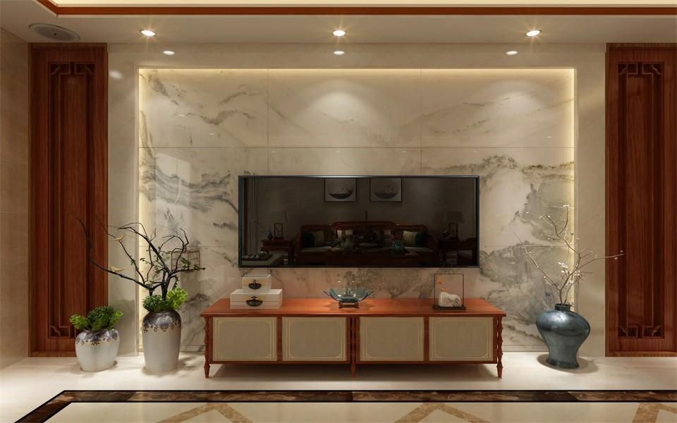 2020新中式客廳裝修設計 2020新中式電視柜裝修效果圖片