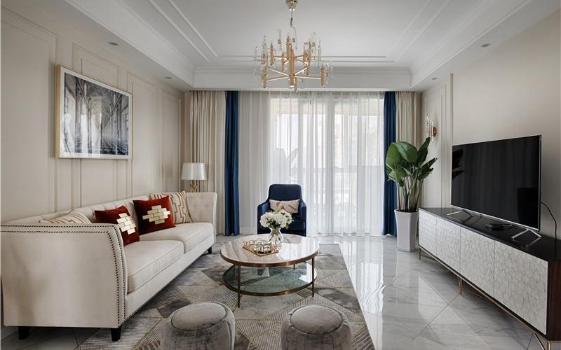 2020美式客廳裝修設計 2020美式落地窗裝修圖片