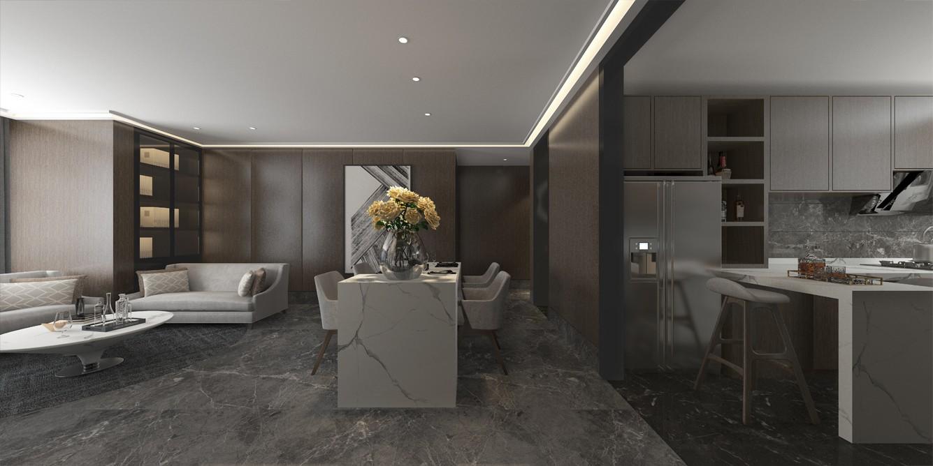 2020后現代客廳裝修設計 2020后現代廚房島臺效果圖
