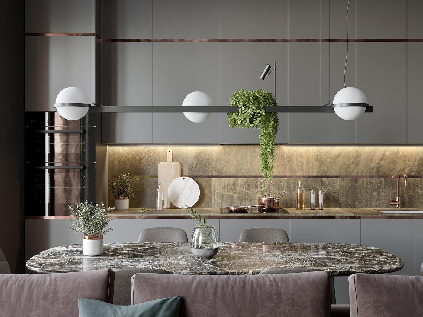 2020現代簡約廚房裝修圖 2020現代簡約櫥柜裝修設計