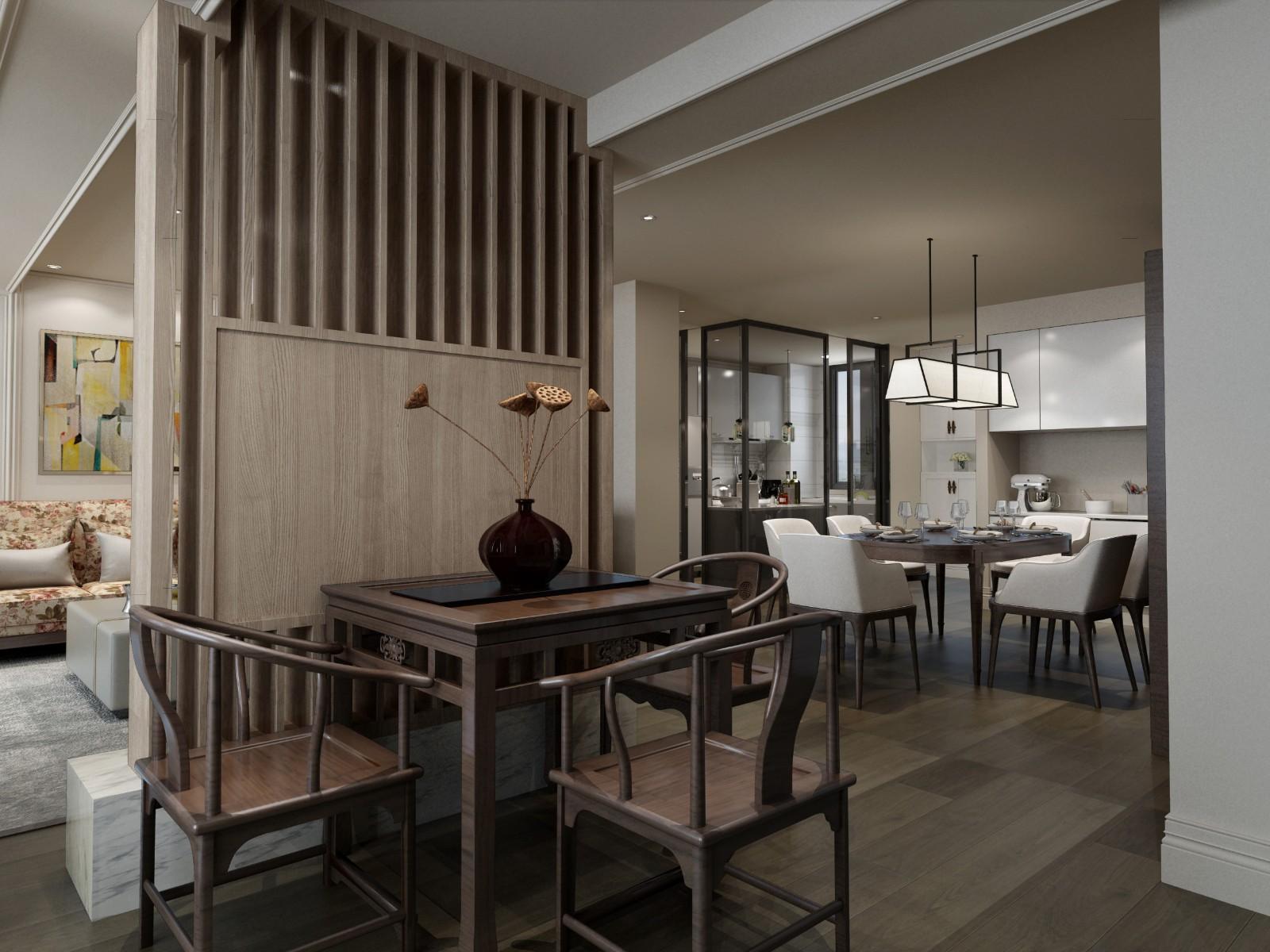 2020新中式90平米裝飾設計 2020新中式三居室裝修設計圖片