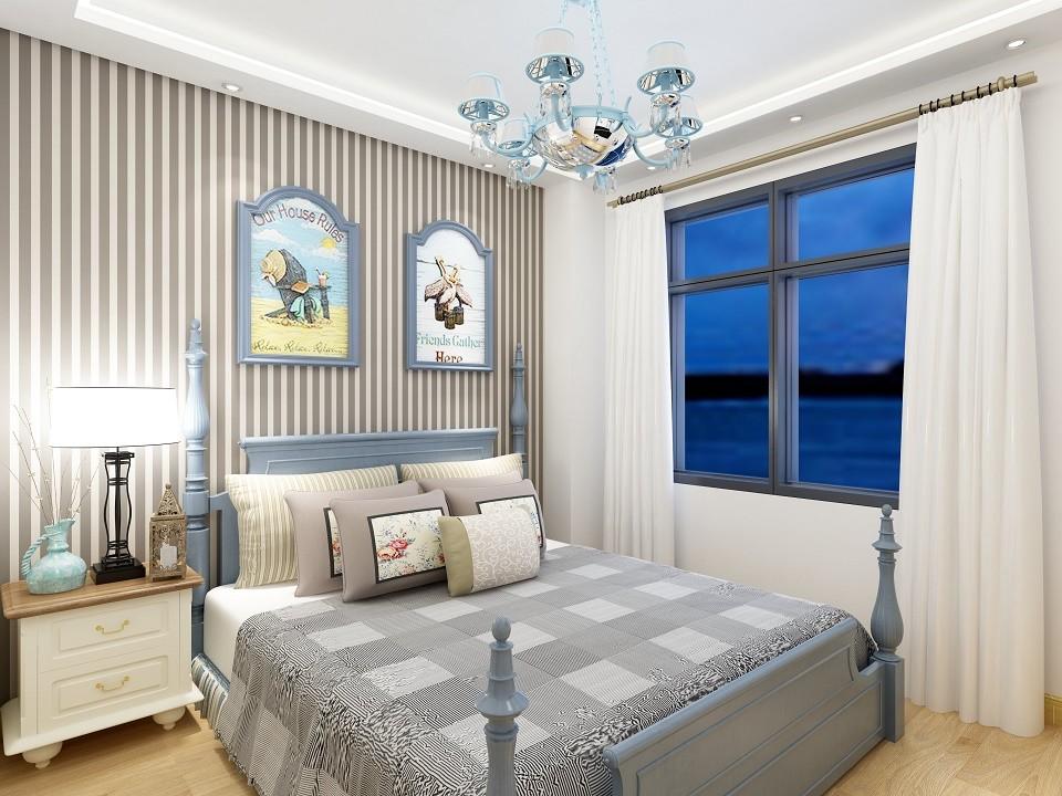 2020地中海卧室装修设计图片 2020地中海窗帘装修设计图片