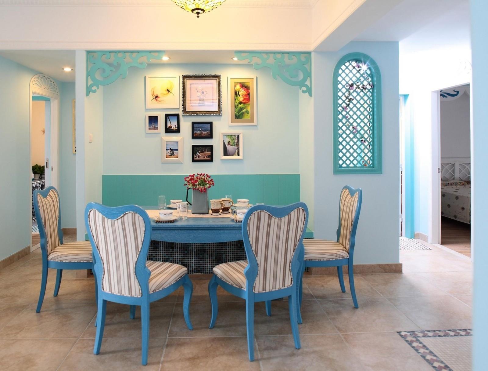 2020地中海餐厅效果图 2020地中海餐桌装修图片