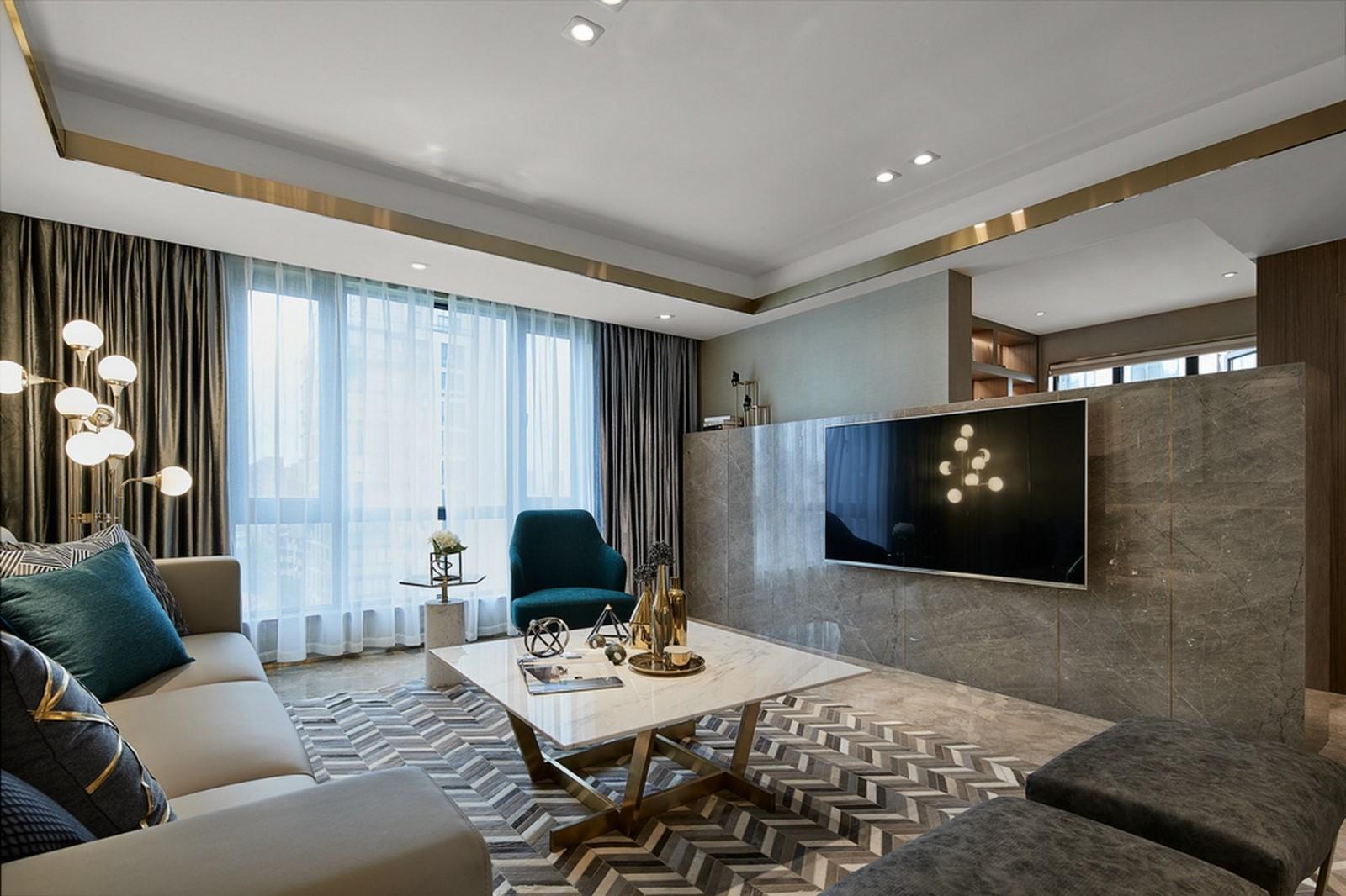 2020后现代客厅装修设计 2020后现代电视背景墙图片