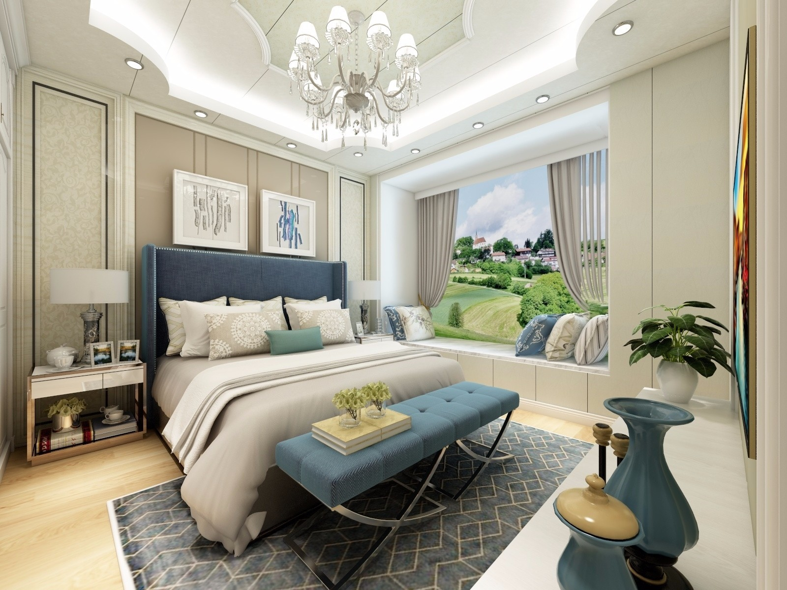 2020欧式卧室装修设计图片 2020欧式吊顶效果图