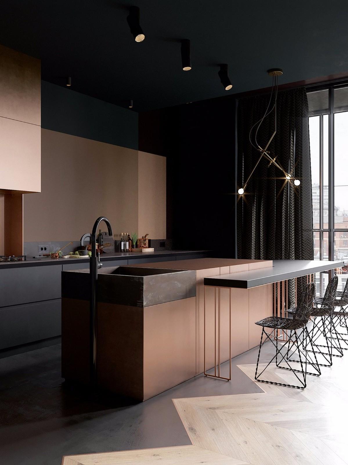 2021现代餐厅效果图 2021现代厨房岛台效果图
