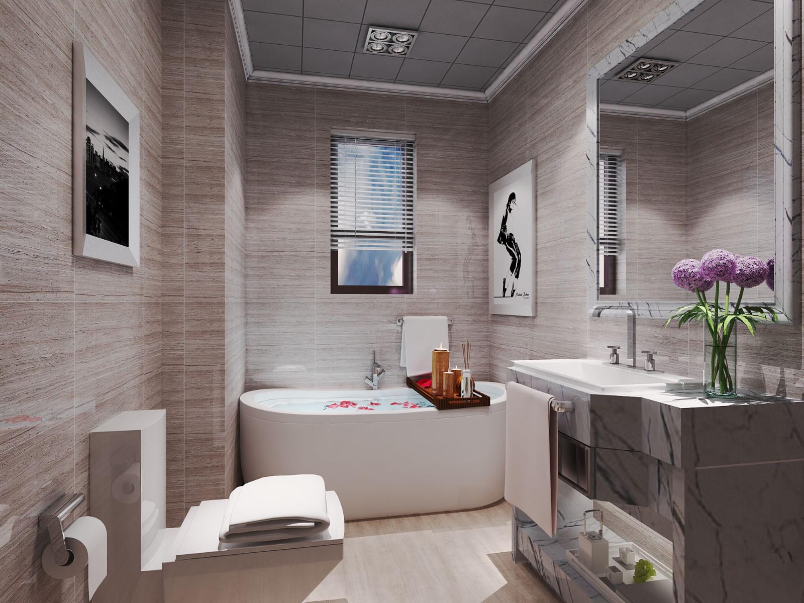 2021现代简约浴室设计图片 2021现代简约浴缸装修效果图大全