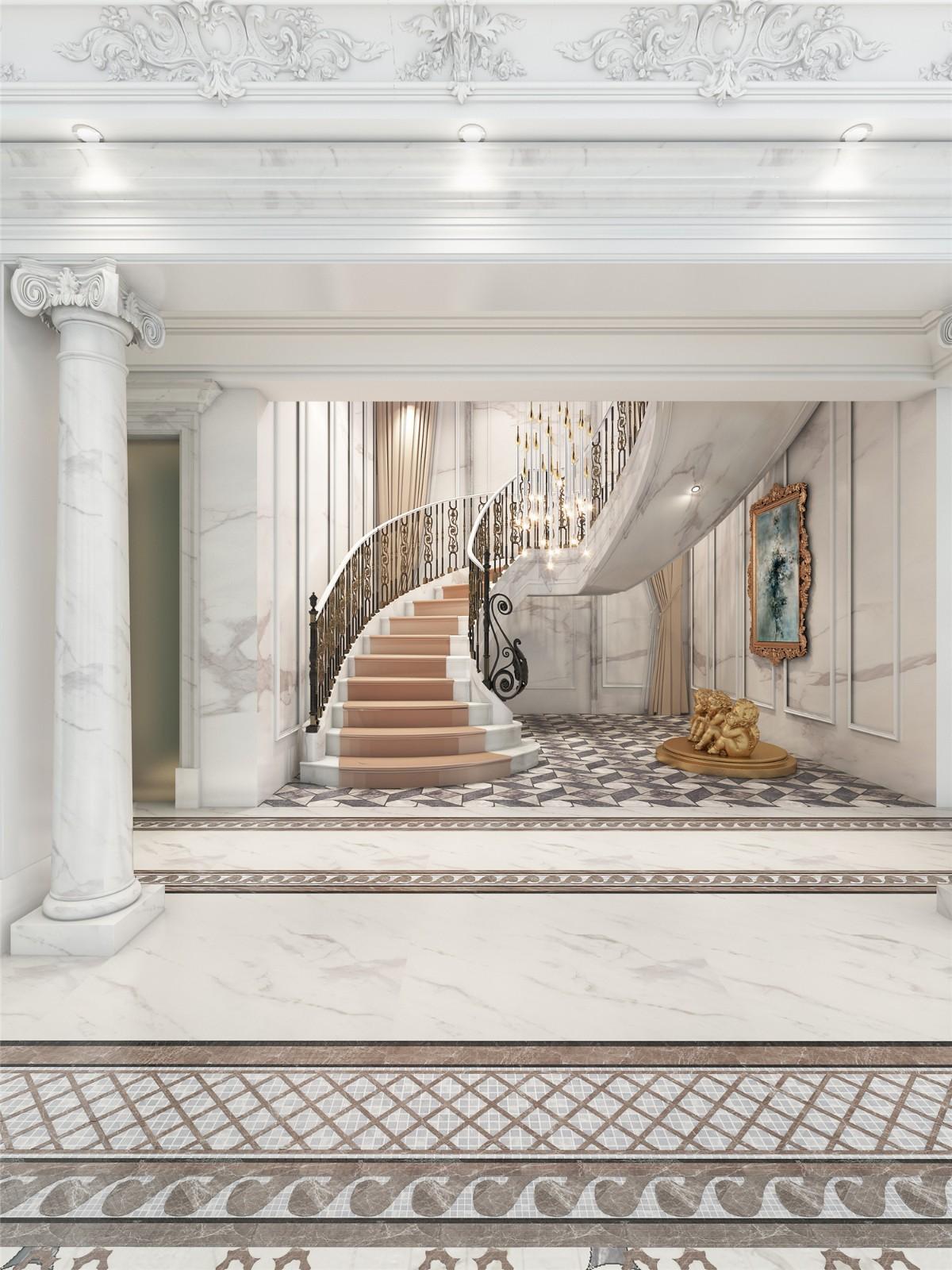 2021法式地下室效果图 2021法式楼梯装修效果图片