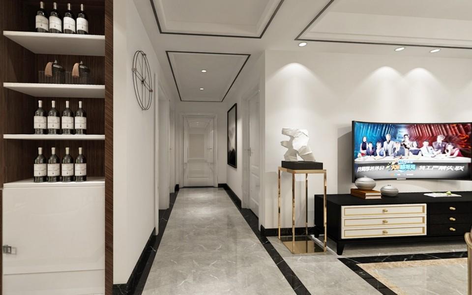 2021中式起居室装修设计 2021中式门厅装修效果图片