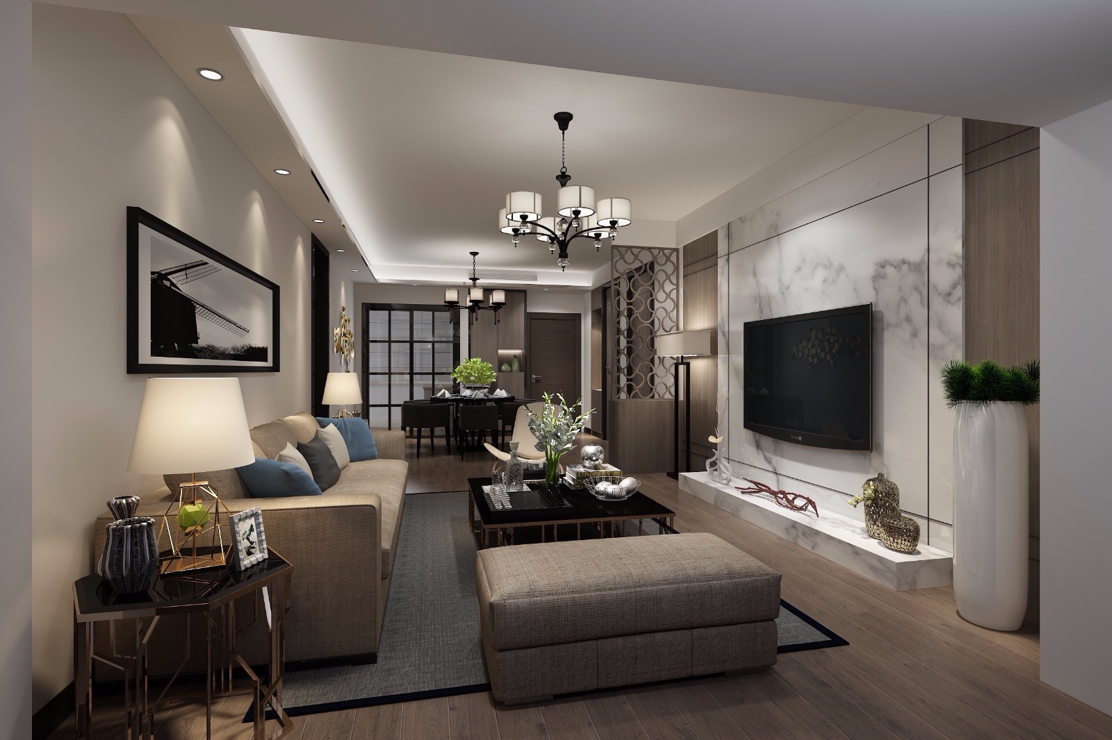 現代120平三居室裝修效果圖