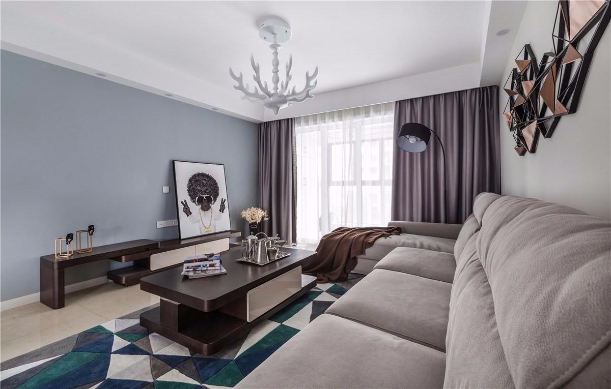 現代簡約120平三居室裝修效果圖