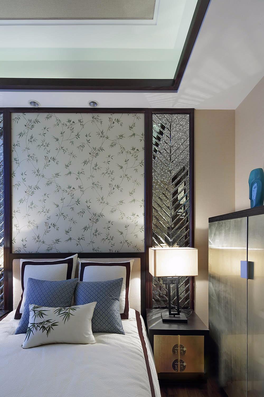 2020中式卧室装修设计图片 2020中式床头柜装修设计图片