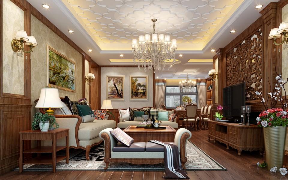 2020美式客厅装修设计 2020美式背景墙图片