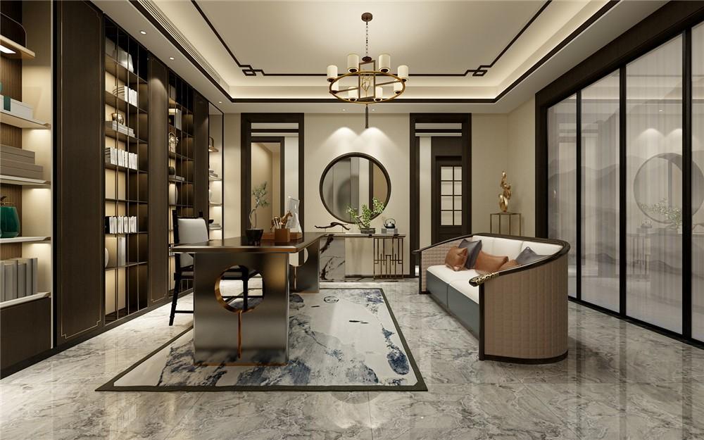 2021新中式起居室装修设计 2021新中式博古架装修图
