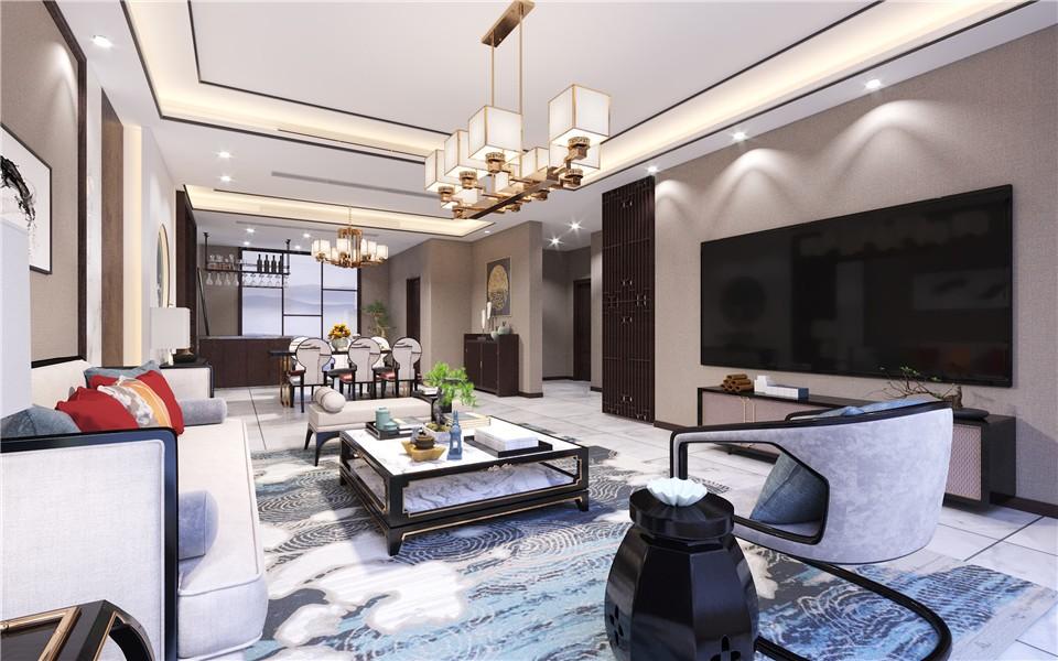 2021现代中式客厅装修设计 2021现代中式茶几效果图
