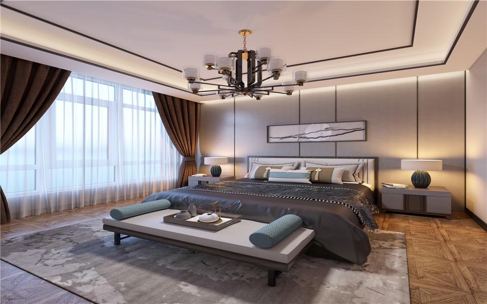 2021现代中式卧室装修设计图片 2021现代中式床头柜装修设计图片