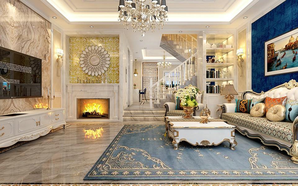 2021欧式客厅装修设计 2021欧式楼梯装修效果图片