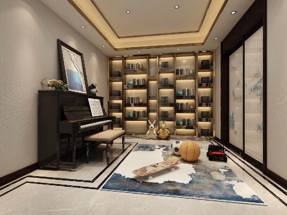 2021新中式起居室装修设计 2021新中式隐形门装修图