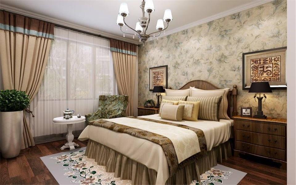 2021美式卧室装修设计图片 2021美式窗帘装修图