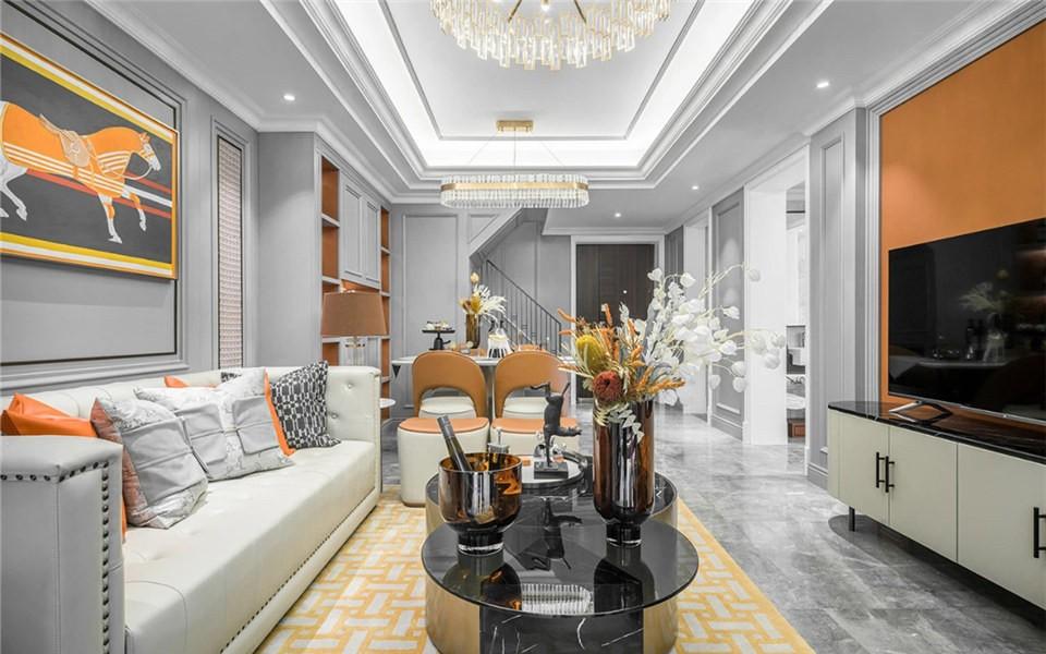 现代轻奢三居室|爱马仕橙