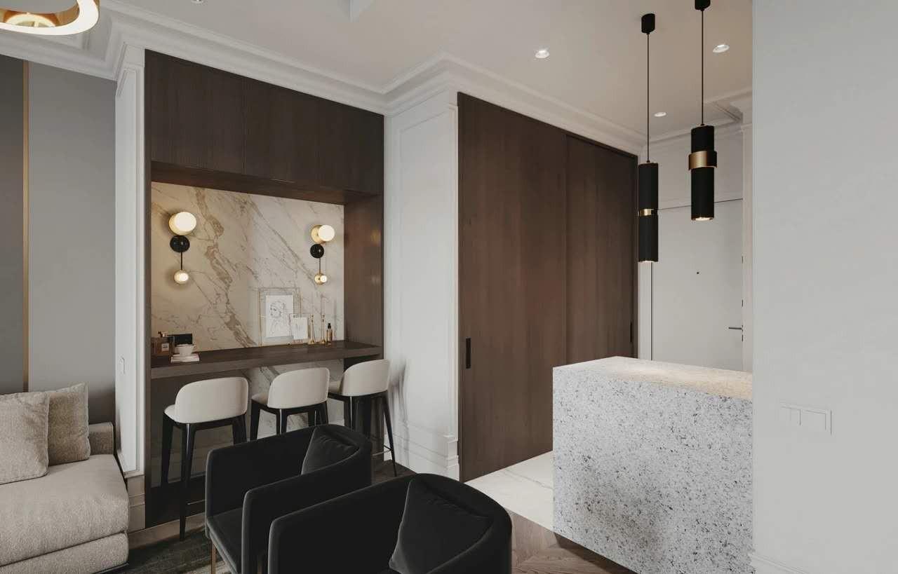2021现代简约客厅装修设计 2021现代简约吧台效果图