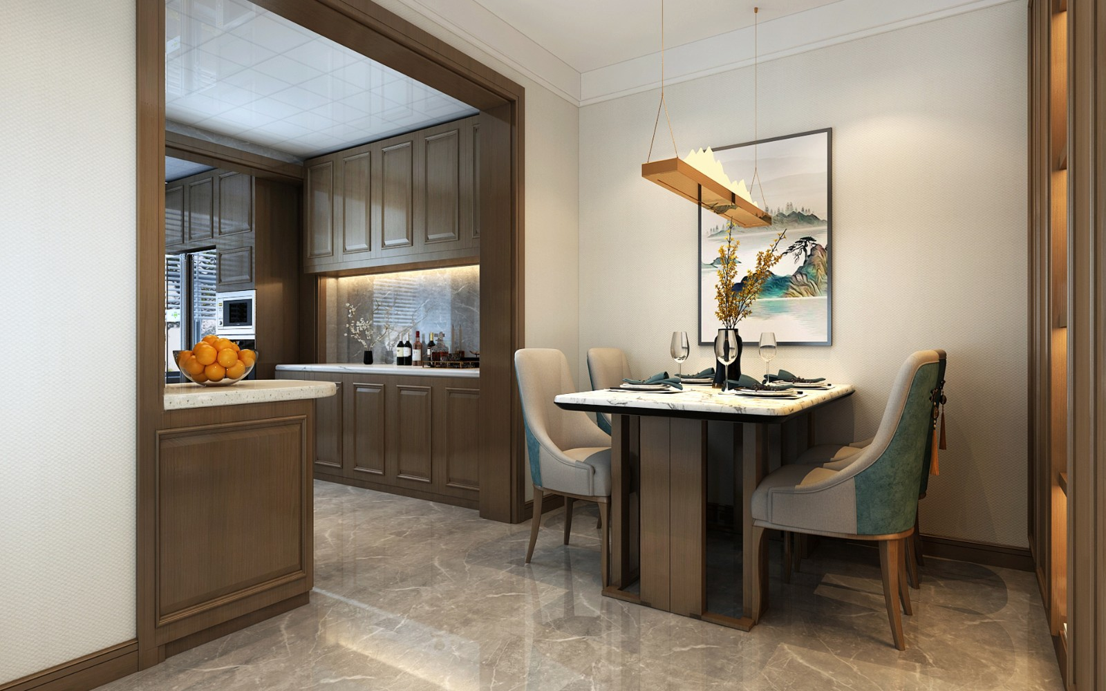 2021新中式餐厅效果图 2021新中式厨房岛台效果图
