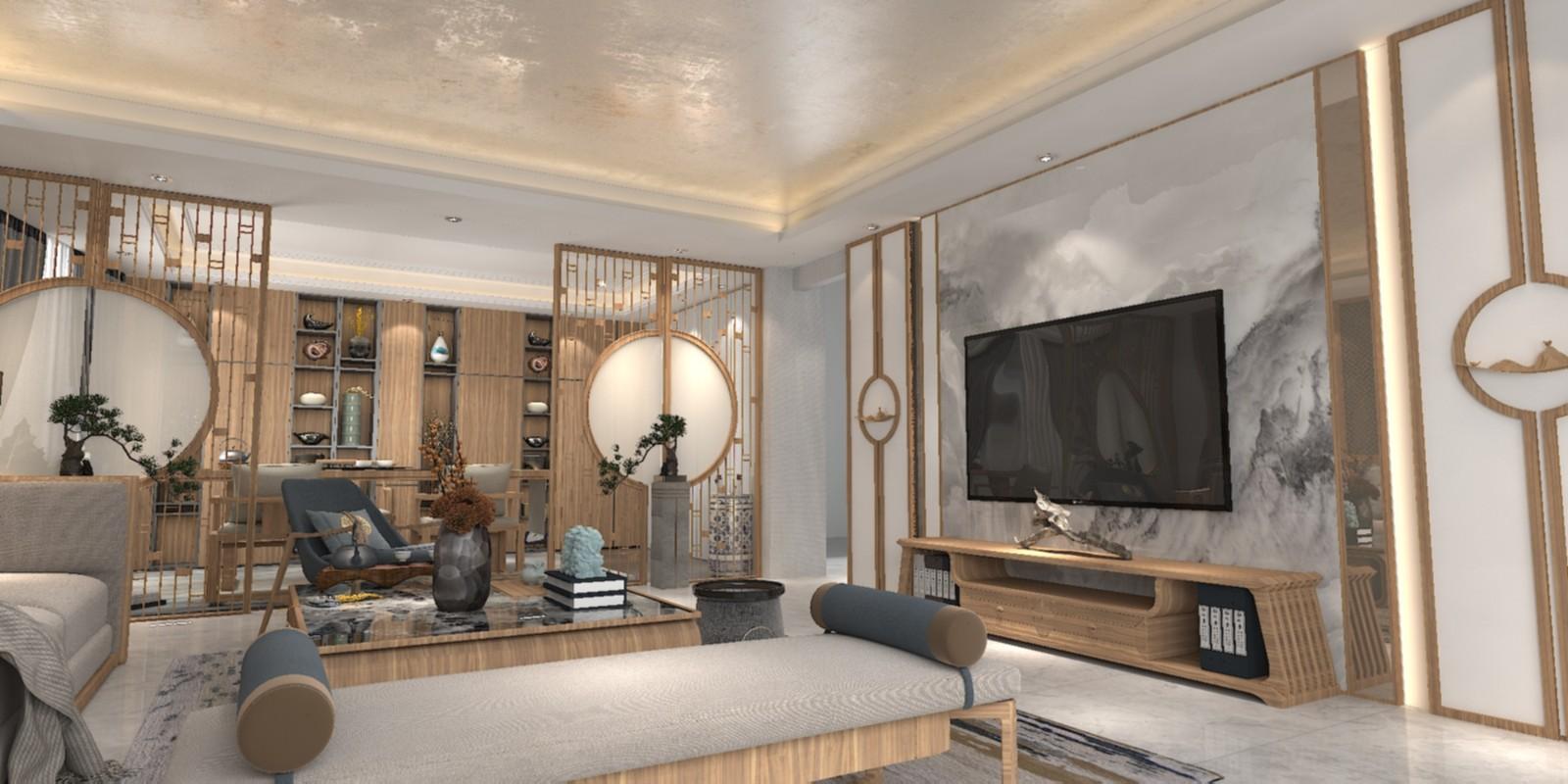 2021中式240平米装修图片 2021中式楼房图片