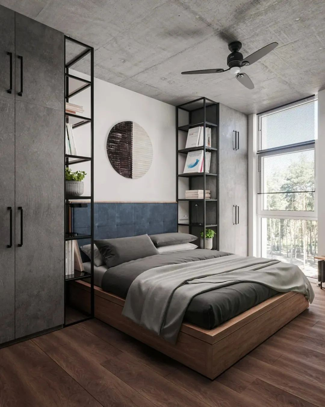 2021工业卧室装修设计图片 2021工业床图片
