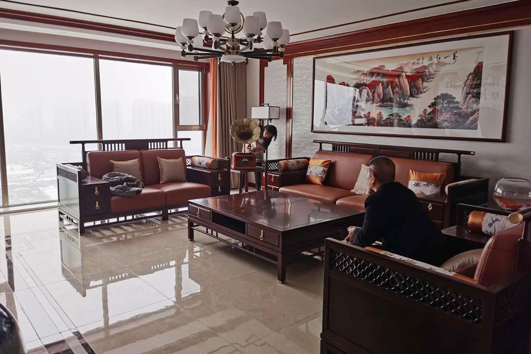 2021中式客厅装修设计 2021中式落地窗装修图片
