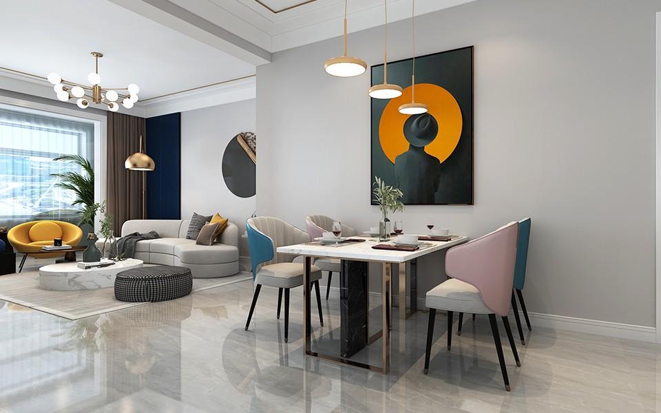 2020现代简约餐厅效果图 2020现代简约餐桌装修效果图片
