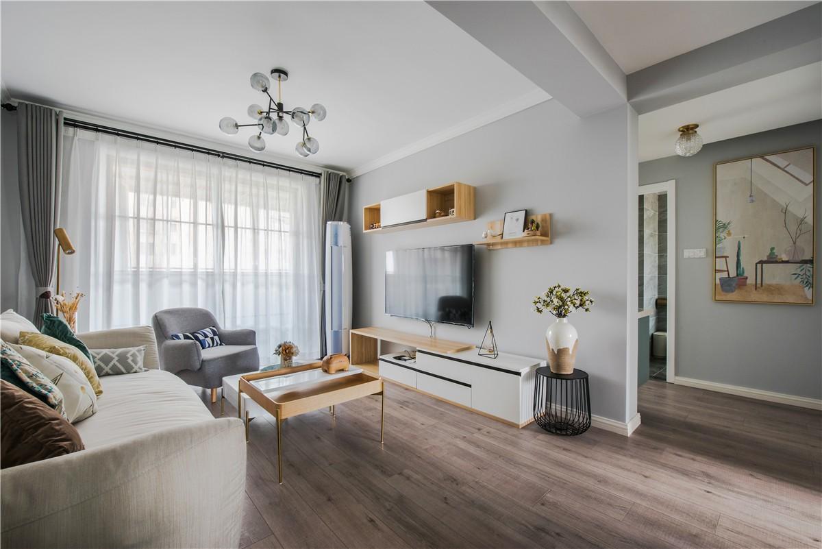 2021现代简约客厅装修设计 2021现代简约窗帘装修效果图片