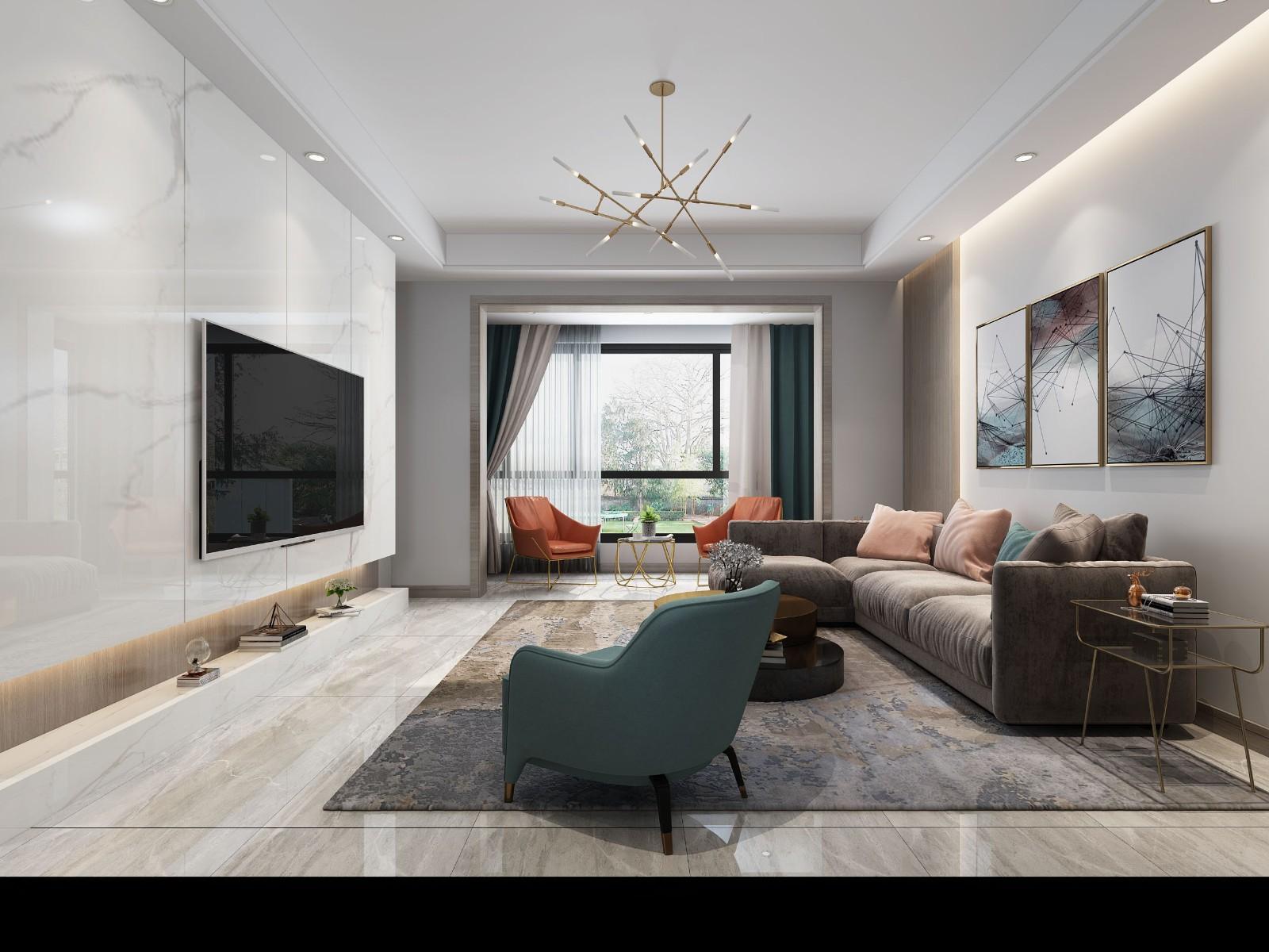2021现代客厅装修设计 2021现代照片墙效果图